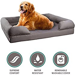 "Petlo Orthopedic Pet Sofa Bed - Dog, Cat or Puppy Memory Foam Mattress Comfortable Couch for Pets with Removable Washable Cover (Large - 36"" x 28"" x 9"", Grey)"