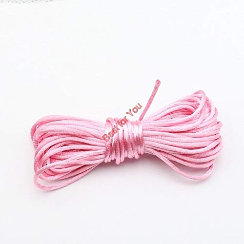 Laliva 10yard Soft Satin Rattail Silk Macrame Cord Nylon Kumihimo Shamballa for DIY Bracelet Necklace Jewelry Findings Accessories 2mm - (Color: Pink)