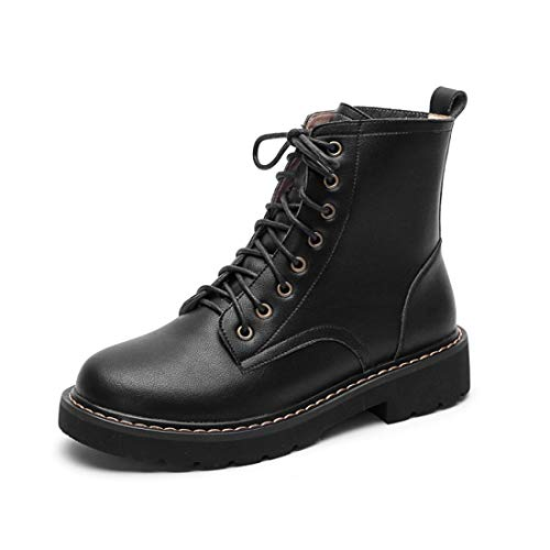 Sandalette-DEDE Otoño e Invierno Cabeza Redonda Botas de tacón bajo Martin versión Coreana de Zapatos de Mujer de Cuero bajo Botas Bajas de Gran tamaño Botas de Mujer black
