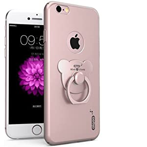 ZOEAST 3 in 1 Little Bear Finger Ring Stand Ultra Thin Hard Protective Case for iPhone 5 5s SE 6 6S 7 Plus 4.0 4.7 5.5 inch 360 Degree Rotating Ring Kickstand (iPhone 7, Rose Gold)