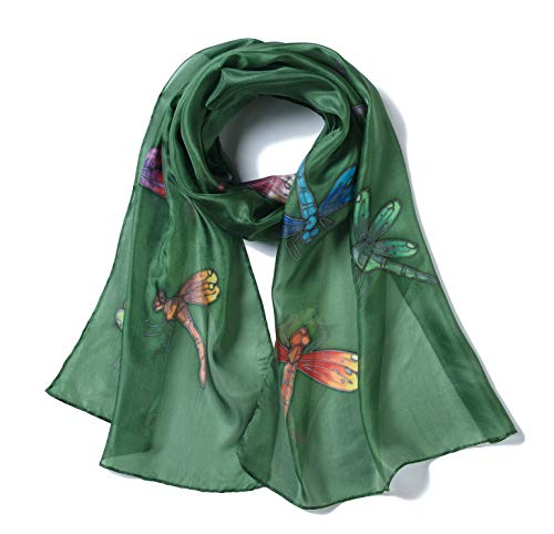 cea0adcb077f0 Invisible World Women's 100% Silk Scarf Hand Painted Dragonfly Olive Green