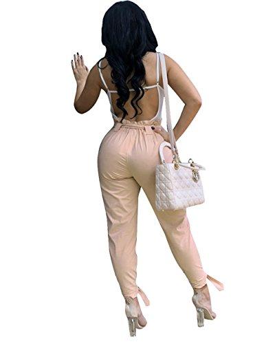 Haute Fashion Couleur Bandage Points Casual Pantalons Kaki Neuf Slim Pants Avec Femmes Jeune Taille Unie Freestyle Trousers qzPw7t1z