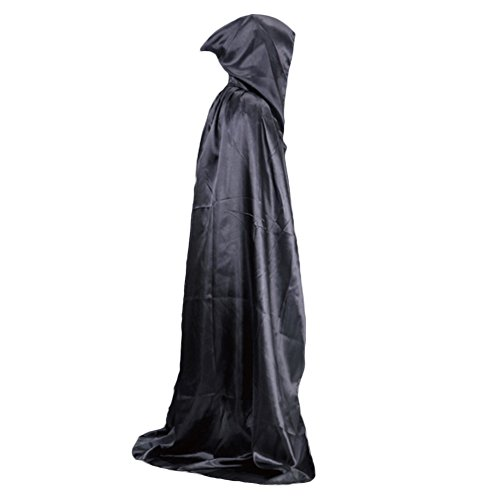 Usaboutall Let's Party Vampire Hooded Cloak Medieval Witch Robe Cape Floor-length Halloween Costume - -