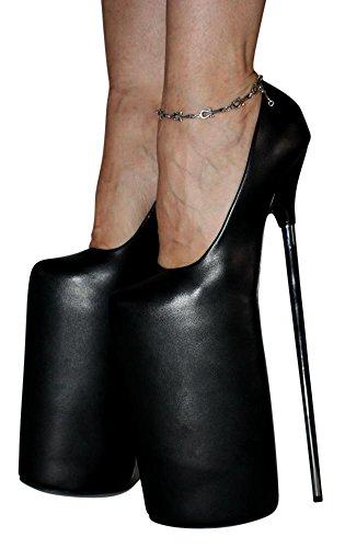 Erogance 30cm Extrem Plateau High Heels Pumps - Zapatos de vestir de Material Sintético para mujer negro