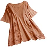 Hollow Out Hem Blouse Womens New Elegant Vintage Solid Short Sleeve Loose O-Neck T-Shirt Tank Tops Orange