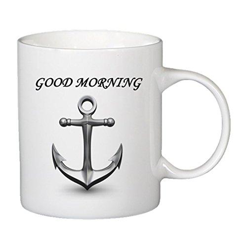 Onener Funny Mugs - Good Morning Anchor Ceramic Gift Coffee Mug Tea Cup 11 OZ (White)
