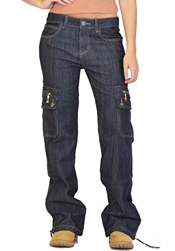 Cargo Larges Outfitters Bleu Glamour Pantalon Denim en Jambes Pantalon Combat f7HO8qHE