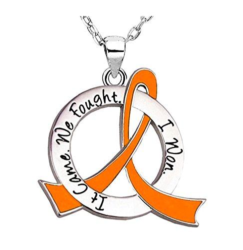 It Came. We Fought. I Won. Survivor Necklace Leukemia Kidney Cancer Skin Cancer (Orange Ribbon)]()