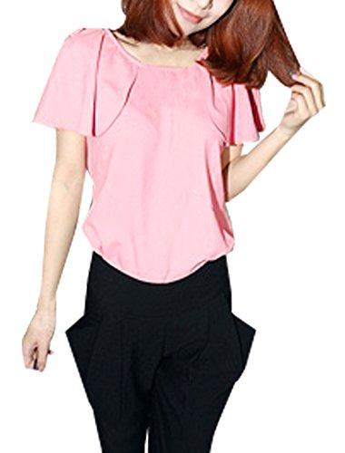 sourcingmap® Damen Pullover Regelmäßige Länge Freizeithemd Top Rosa S - Hellrosa, Damen, S
