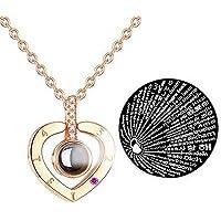 Fashion Jewelry Collar con Dije TE Amo 100 Idiomas I Love You (Corazón Rose Gold)