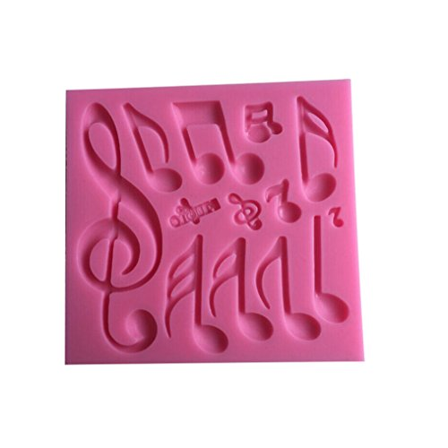 Fly 3D Silicone Cake Mold Candy Making Tools Musical Note Decorating Mould,Pink