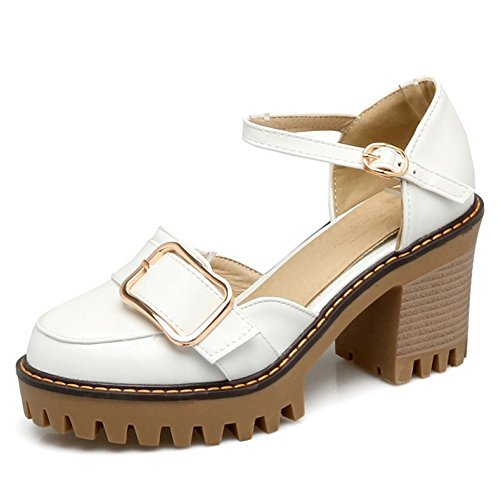 COOLCEPT Mujer Moda Al Tobillo Sandalias Cerrado Tacon Ancho Plataforma Zapatos Blanco