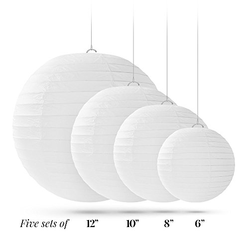 20 White Round Paper Lanterns for Weddings, Birthdays, Parties and Events - Assorted Sizes of 6'', 8'', 10'', 12'' (5 of Each Size) - by Avoseta by Avoseta (Image #5)'
