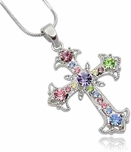 Pastel Yellow, Blue, Pink, Purple, Green Crystal Cross Silver Tone Necklace women Teens Girls