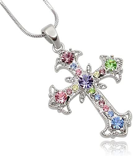 Pastel Yellow, Blue, Pink, Purple, Green Crystal Cross Silver Tone Necklace women Teens Girls