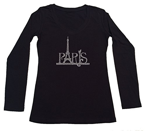 RhinestoneSuperstore Women's T-Shirt With Paris Eiffel Tower In Rhinestones (Large, Black Long Sleeve)