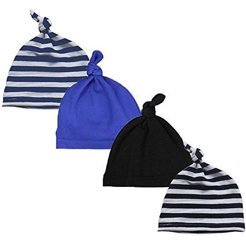 Newborn Cool Boy Nursery Beanie Hospital Hat Cotton Adjustable Knot Cap (Striped Cap (as Shown))