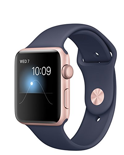 Apple Watch Series 2, 42mm Rose Gold Aluminum Case with Midnight Blue Sport Band by Apple
