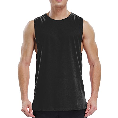 Ouging Cut Off Mens Tank Top Muscle Sleeveless T Shirt for Gym Bodybuilding Workout Athletic Training Activity Sports (XL, Black) ()