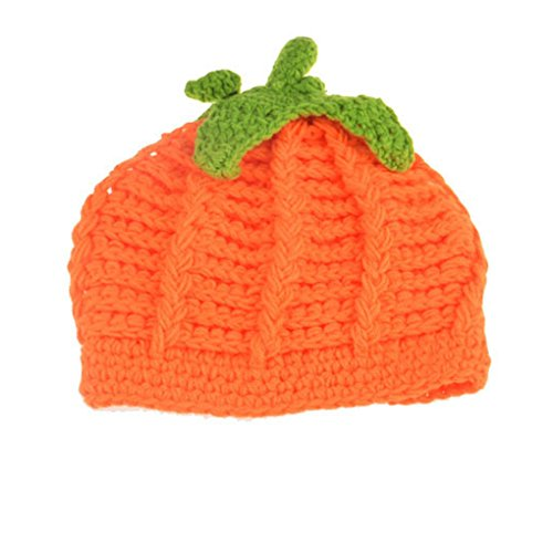 Baby Crochet Pumpkin Hat Toddler Knitted Beanie Halloween Infant Hooded Cap JHH02 (Style A)