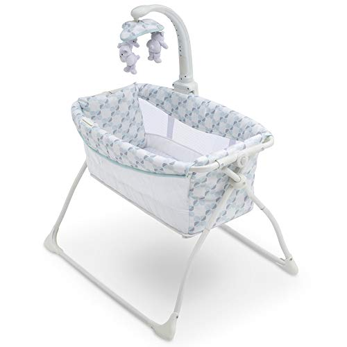 4158352NQRL - Delta Children Deluxe Activity Sleeper Bedside Bassinet - Folding Portable Crib For Newborns, Windmill