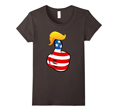 Make Your Own Halloween Costume Last Minute (Womens Funny Trump Thumbs Up His Wig T-Shirt Large Asphalt)