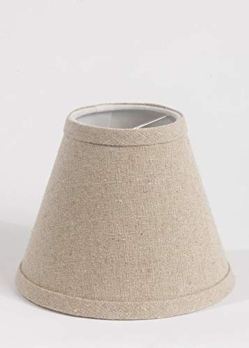 Urbanest Natural Pure Linen Chandelier Lamp Shade, 3-inch by 6-inch by 5-inch, Clip-on, Hardback