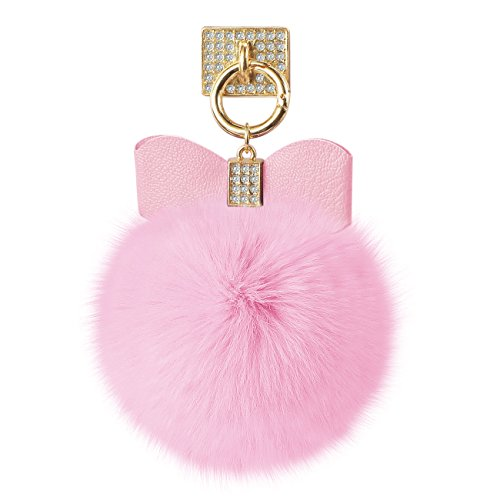 Pink SOFT PUFFY FUR BALL Tassel for ALL Cell Phones Includes Finger Ring Holder that attaches to the Back of the Phone. Handmade Fashion Accessory WOR…