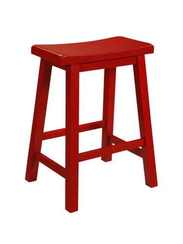 Powell Color Story Schoolhouse-Style Counter Stool, Crimson (Red Saddle Seat Bar Stool)