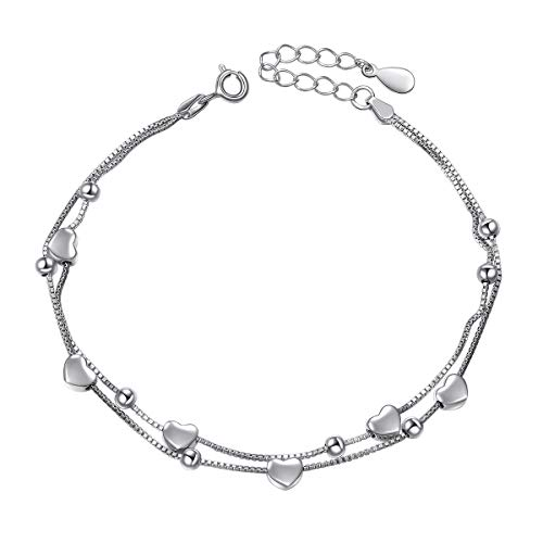 - S925 Sterling Silver Jewelry Forever Love Heart Beads Double Chain Bracelet Friendship Adjustable Charm Bracelet Gift for Women Girls