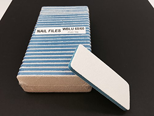 File Pack Foot (Professional Nails & Pedicure Foot Files with White Grit (BLUE Center) Grit 60/60 (25pcs/pack))