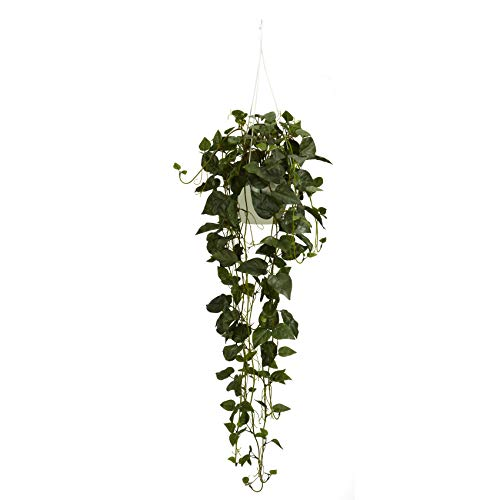 Nearly Natural 4762 Philodendron Hanging Basket Decorative Silk Plant Green