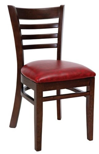 Royal Industries Ladder Back Wood Chair, Walnut Finish, Blac