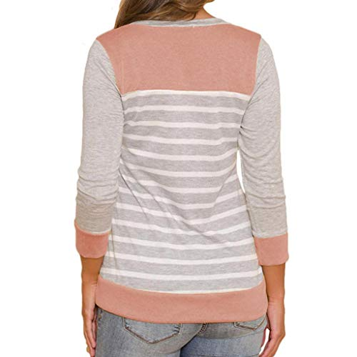 Rayure Splicing Femme Col Rond Bringbring Hauts Chemisier Manche Longue T Shirts Chemise Rose wEgExTq6zf