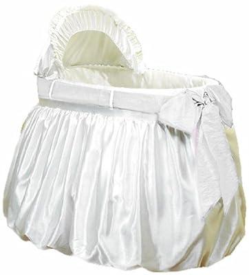 Baby Doll Bedding Shantung Bubble and Crushed Belt Bassinet Bedding, Ecru