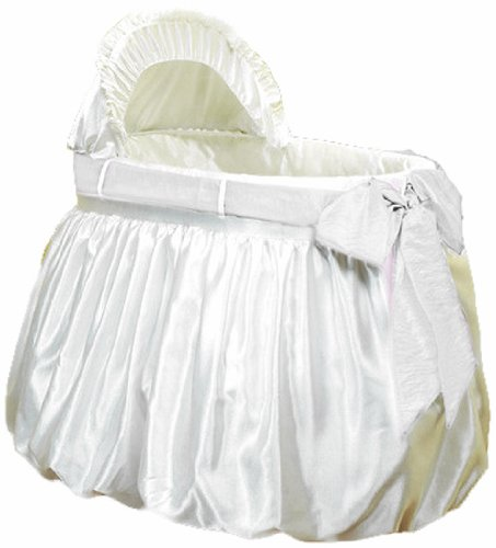 - Baby Doll Bedding Shantung Bubble and Crushed Belt Bassinet Bedding, Ecru