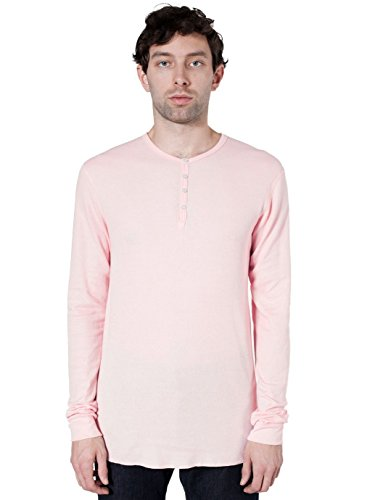 American Apparel Men Baby Thermal Henley Long Sleeve T-Shirt Size XS Light Pink
