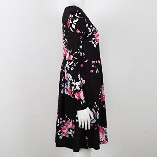 DOLDOA Mujeres Floral verano casual de manga larga vestido de fiesta de longitud de la rodilla Negro