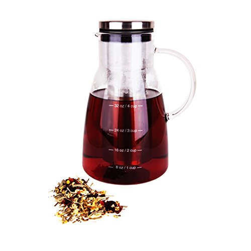 Premium Quality Stainless Steel (Cold Brew Coffee Maker & Tea Infuser Pot by Integrity Chef - 5 Cup Pitcher, Premium Food Grade Quality Stainless Steel & Glass Carafe, Perfect Gift, SAVE A LIFE!)