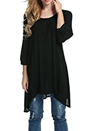 Meaneor Women's Casual Plus Baggy 3/4 Sleeve Solid Loose Asymmetrical Tunic Top