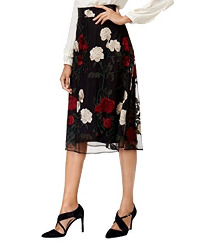 (Eci Embroidered Mesh A-Line Skirt (Black Multi Floral, 8))
