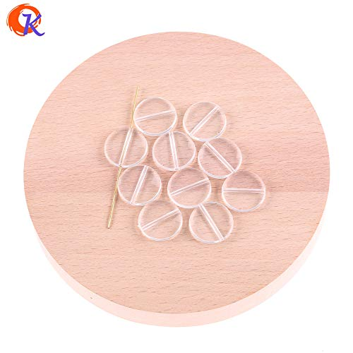 Calvas Round Shape Beads (Design As Shown) 20mm-42mm Acrylic Clear Flat Coin Beads for Jewelry Earring Making - (Item Diameter: 32MM 120PCS)