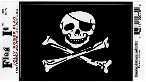 Jolly Roger Pirate Skull & Crossbones Flag Car Decal Sticker [3.5x5