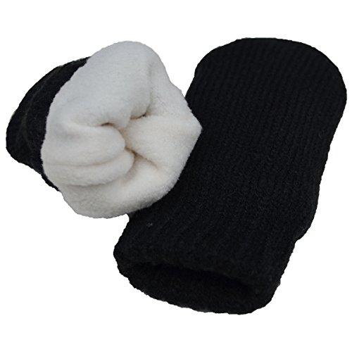 Baby toddler warm fall winter mittens fleece lined unisex (Mitten S: 0-9m, Black)