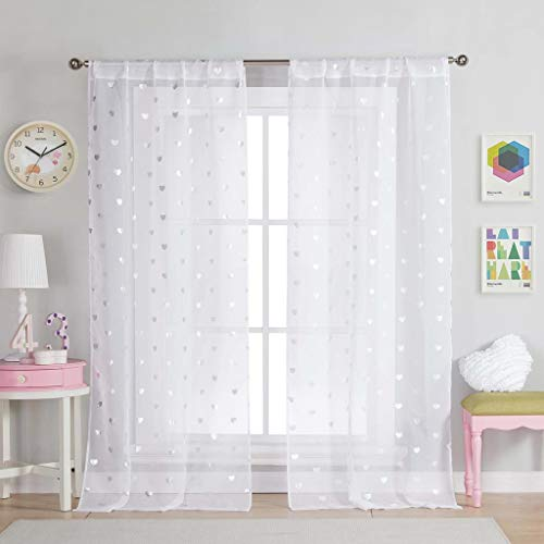 Lala + Bash Kellyann Metallic Heart Sheer Window Curtain 2 Panel Drape, 37 x 84, White ()