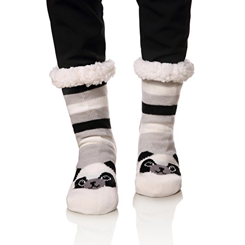 - NOVCO Womens fuzzy Cozy Cute Cartoon Animal Non-Slip Winter Thermal Slipper Socks (Panda A)