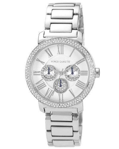 Amazon.com: Vince Camuto Womens VC/5001SVSV Swarovski Crystal Accented Silver-Tone Multi-Function Bracelet Watch: Watches
