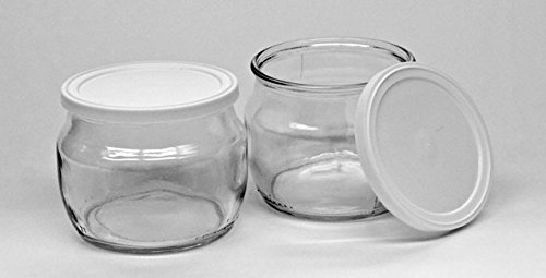The Dairy Shoppe Glass Yogurt Jars with lid Half Pint (2) (Sour Cream Glass)