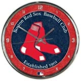 Boston Red Sox Round Chrome Wall Clock - Licensed MLB Baseball Merchandise