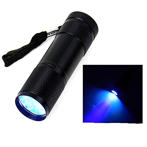 RoadRoma Mini Aluminio 9 LED antorcha UV Ultravioleta Linterna Impermeable Negro
